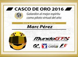 Marc Pérez, ganador del MundoGT Casco de Oro 2016