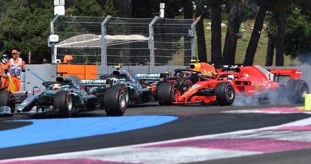 Hamilton domina en Francia y Vettel 5º tras tocarse con Bottas
